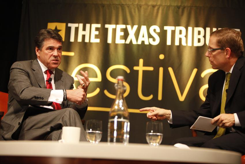 The second annual Texas Tribune Festival kicked off with with a conversation between Gov. Rick Perry and Evan Smith at the A…