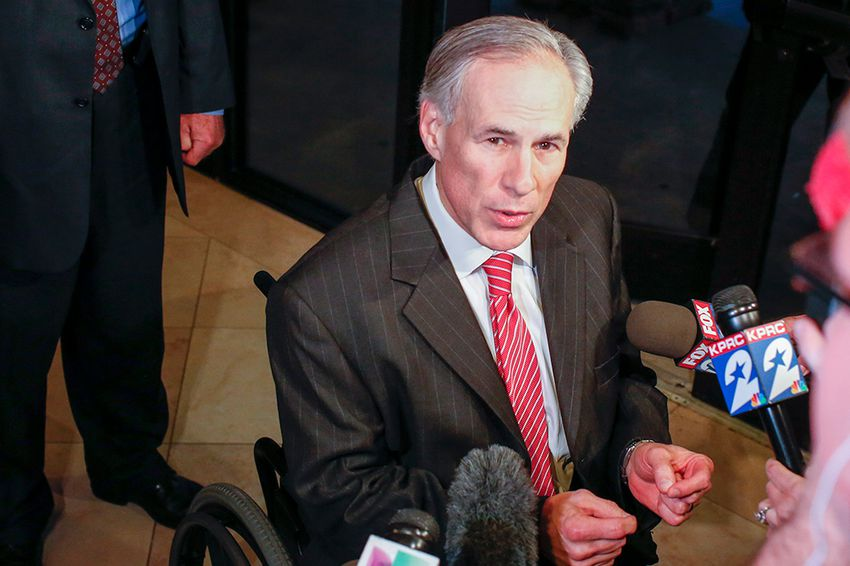 Texas governor Greg Abbott in Houston at the Bayou Civic Center after the Harris County Republican Party 2016 Lincoln Reagan dinner, Feb 24, 2016.