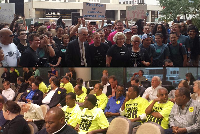 Above: Austin City Councilman Chris Riley joins supporters of legalizing vehicle-for-hire apps Uber and Lyft at a rally Th...