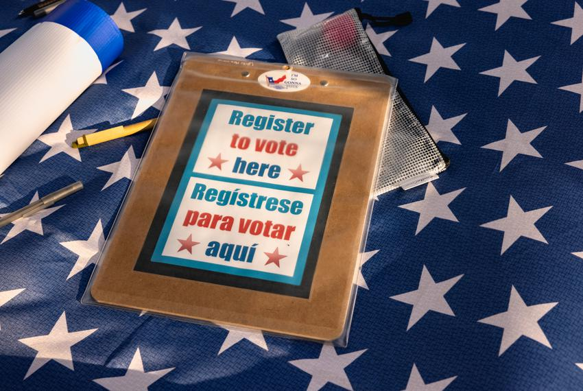 Voter registration tables were set up at the 'For the People' voting rights rally at the Texas Capitol on June 20, 2021.