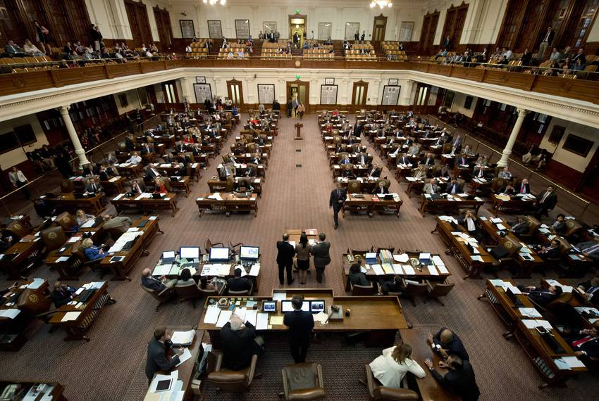 A view above the Texas House Speaker's dais on during the 2015 legislative session.