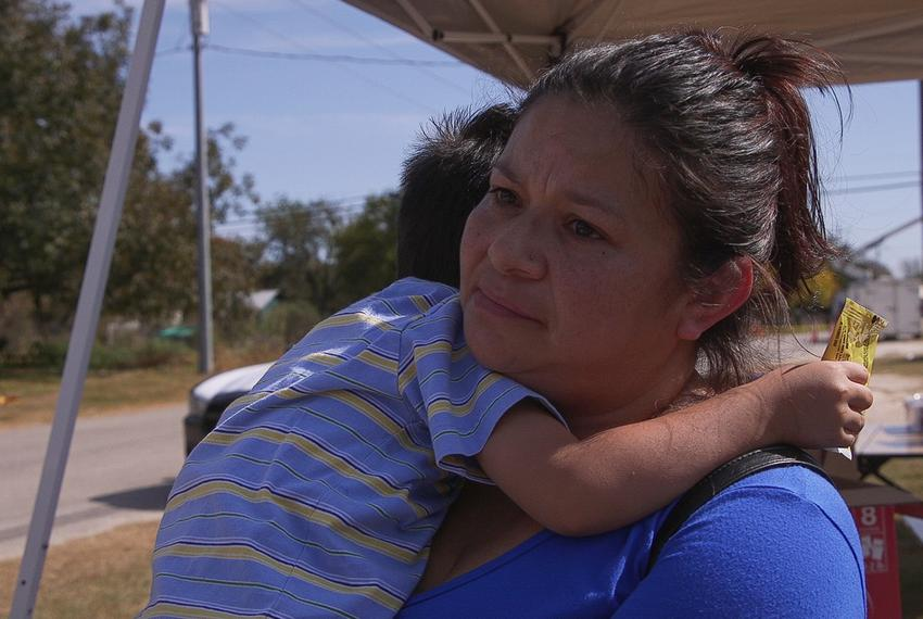 Lupe Picasso came from La Vernia with her 3-year old son to offer help to the residents of nearby Sutherland Springs, site...