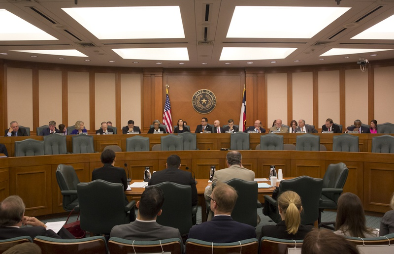 The Sunset Advisory Committee is shown during a hearing on Aug. 22, 2016.