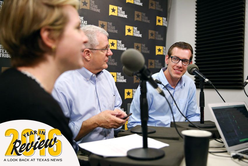 Texas Tribune Editor-in-Chief Emily Ramshaw, left, hosts the TribCast on April 20, 2016. Joining her are Executive Editor Ross Ramsey, center, and political reporter Patrick Svitek, right.