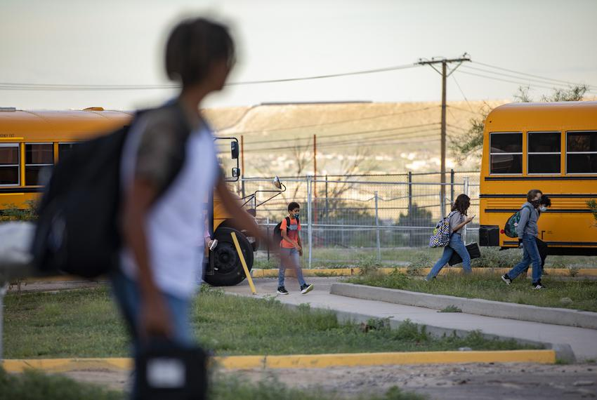 Students arrive at Morehead Middle School on Aug. 19, 2021, in El Paso. The school district, EPISD, as of today voted a mask…