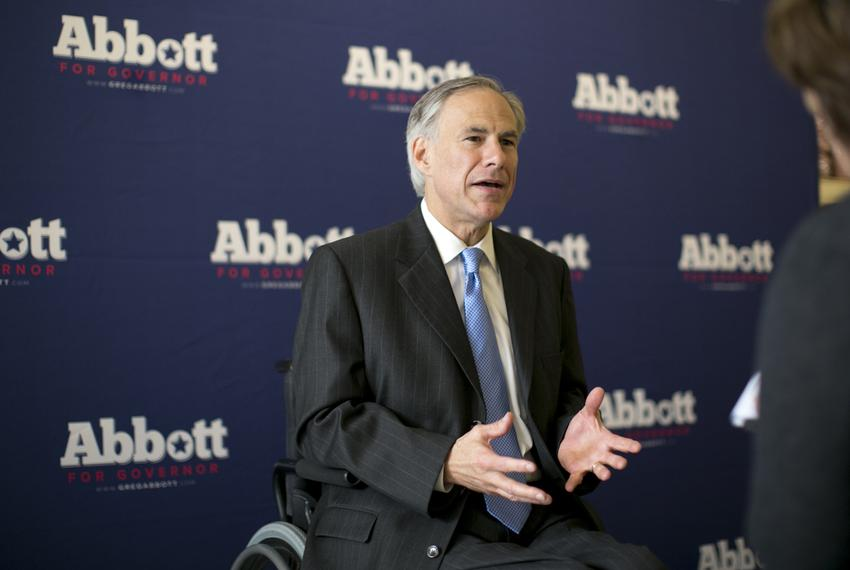 Republican Gubernatorial candidate, Greg Abbott, speaks one-on-one with members of the media following his his appearance ...