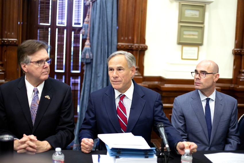 From left: Lt. Gov. Dan Patrick, Gov. Greg Abbott and House Speaker Dennis Bonnen at a meeting of the Texas Safety Commission, at the Texas Capitol on Aug. 22, 2019.