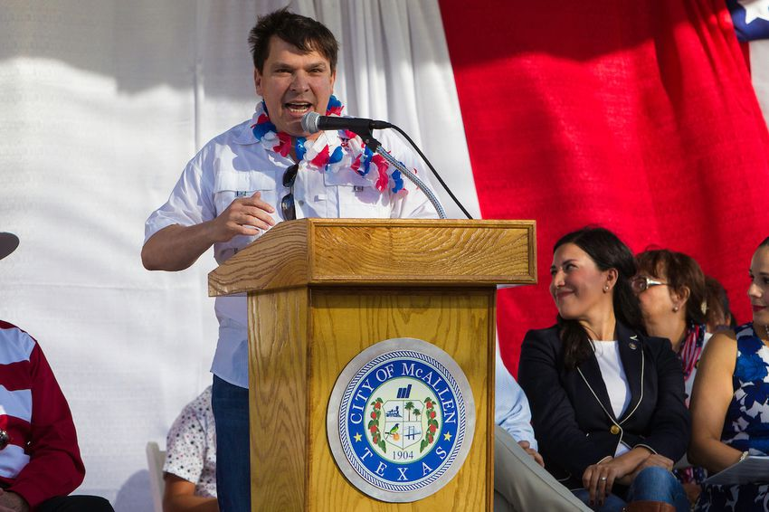 Texas Congressman Vicente Gonzalez speaks to the crowd during a Fourth of July parade in McAllen.