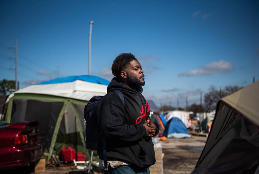 LaShawn Ramsey resides at the state-sanctioned homeless campsite in Austin. Portrait taken on Jan. 23, 2020.