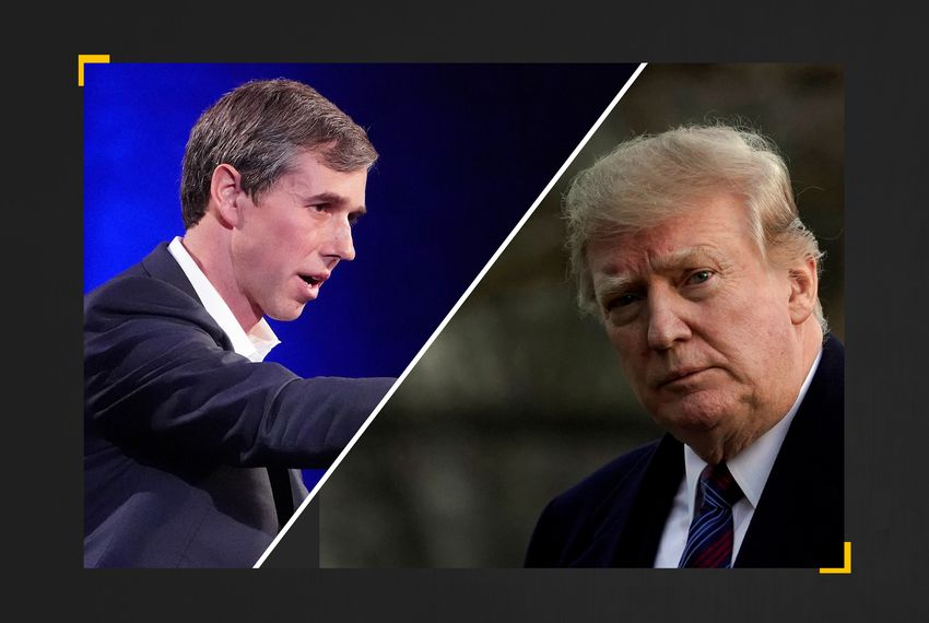 Former U.S. Rep. Beto O'Rourke (left) and President Donald Trump.
