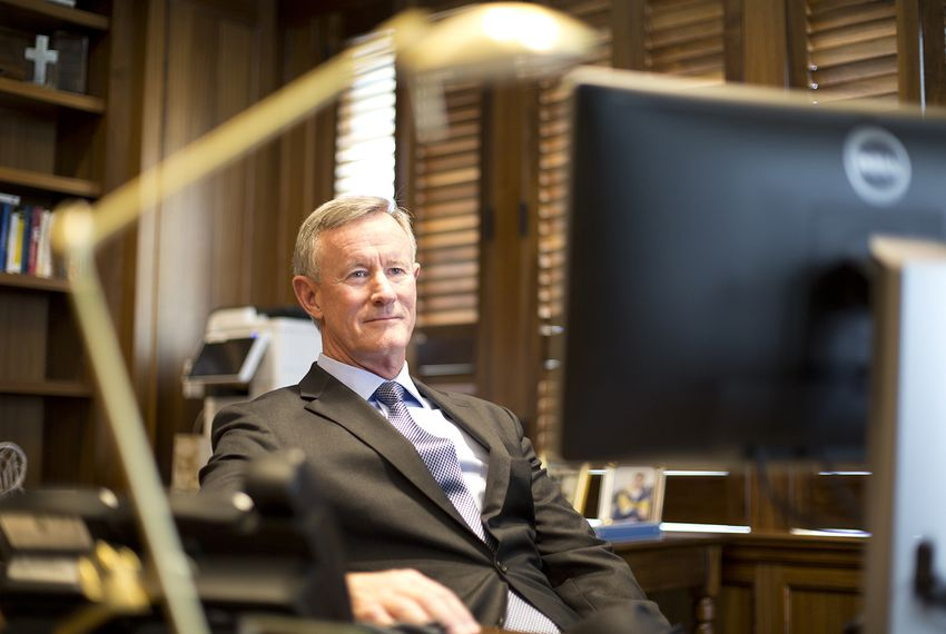 Outgoing University of Texas System Chancellor William McRaven at his office in downtown Austin on May 22, 2018.