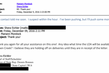A 2016 email shows discussion with a Texas Alcoholic Beverage Commission government relations manager about the liquor permit for Aspen Creek Grill in Tyler.
