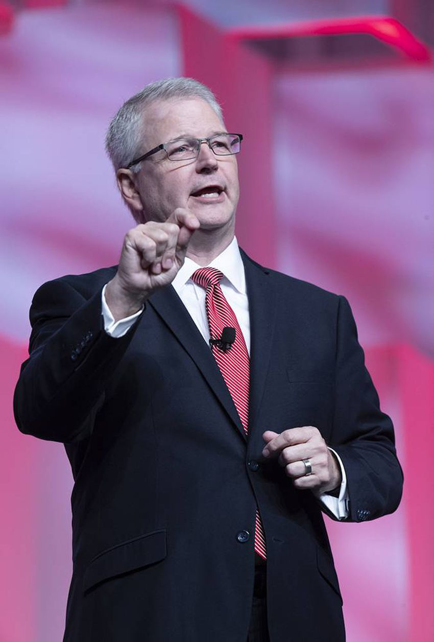 Chairman James Dickey speaks on the first day of the Republican Party of Texas convention in San Antonio on Saturday, June 1…
