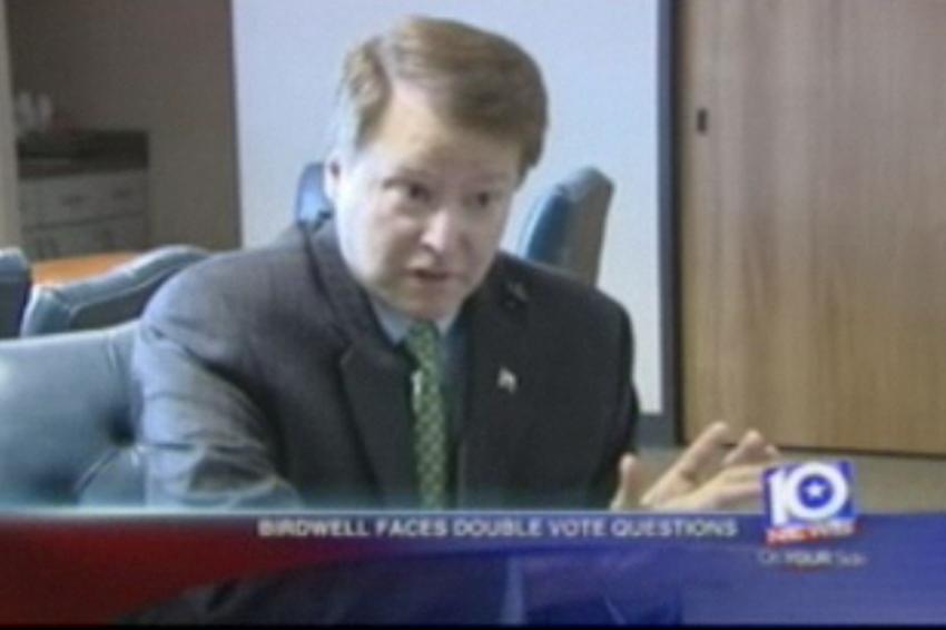 Screengrab of state Sen. Brian Birdwell on KWTX-TV in Waco.