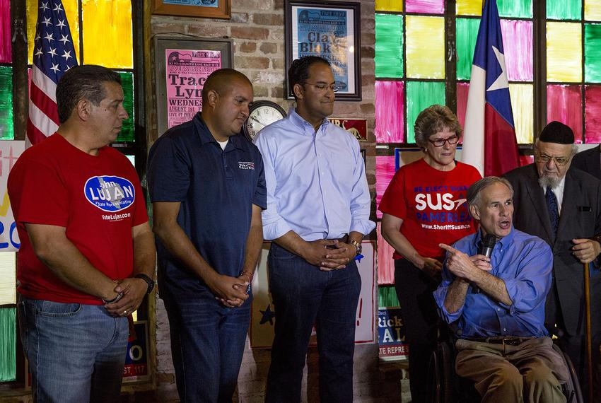 (L to R) State Reps. John Lujan and Rick Galindo and U.S. Rep. Will Hurd receive a last-minute campaign boost from Gov. Gr...