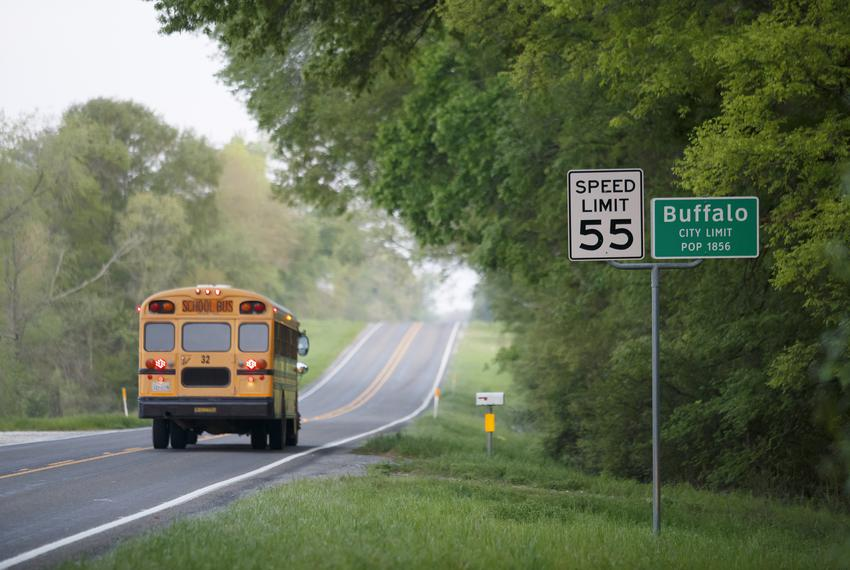 A Buffalo ISD school bus on its morning route in Buffalo on March 28, 2019.