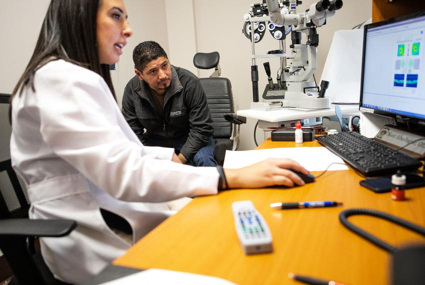 Dr. Noor Abushagur discussed what she sees in her examination and in the images taken of his Eliecer Arce's eyes at a Comm...