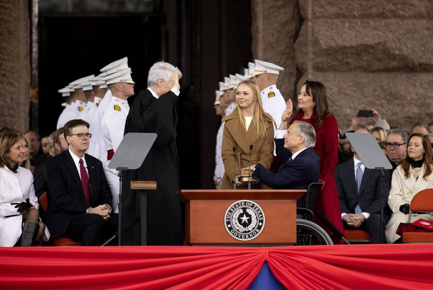 Governor Greg Abbott is officially sworn in at the Oath of Office Ceremony at the state capitol. He is accompanied by his ...