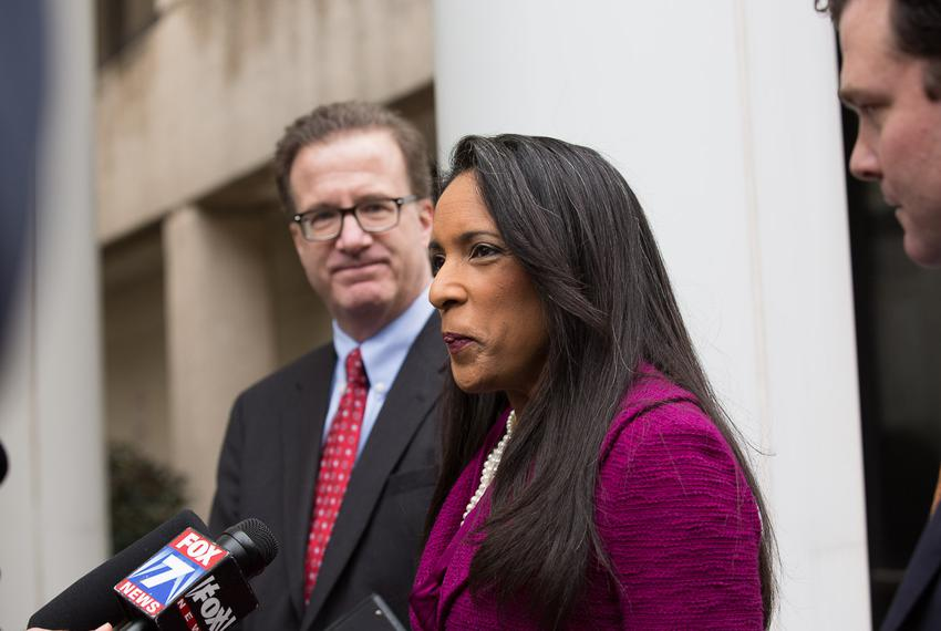 State Rep. Dawnna Dukes, D-Austin, outside the Travis County Blackwell-Thurman Criminal Justice Center before being arraig...