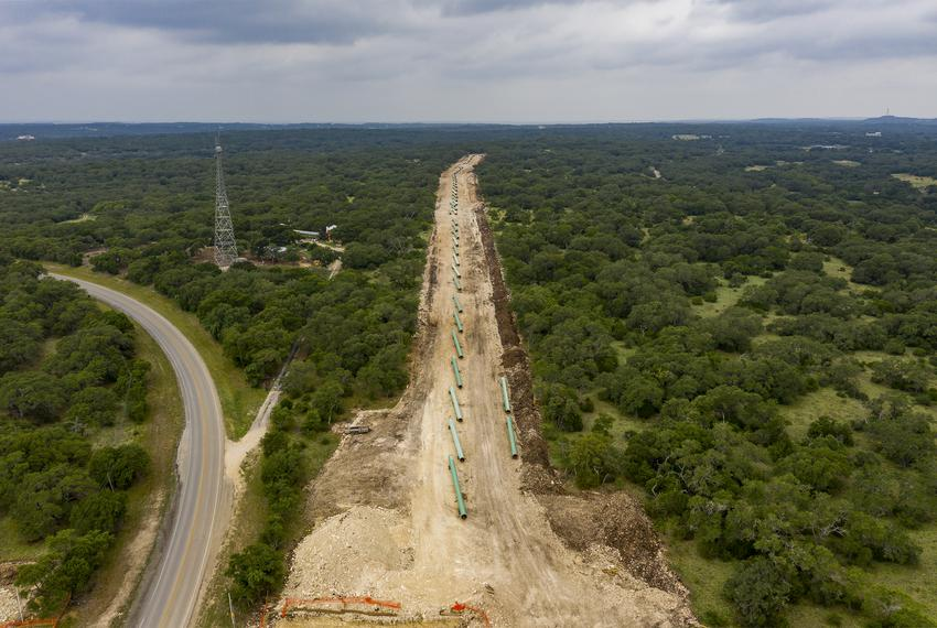 Construction on the Permian Highway Pipeline Through Central Texas in Hays County on June 29, 2020.