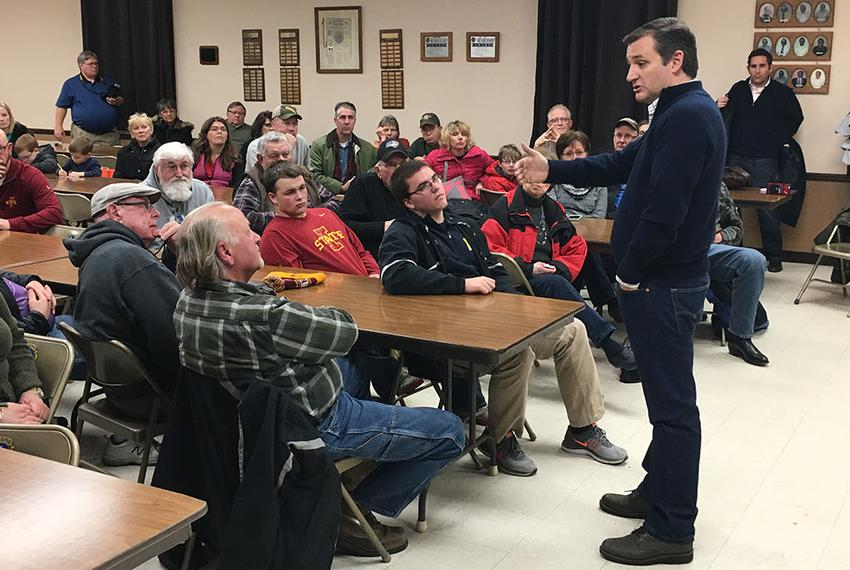 Ted Cruz speaks with Iowans on Saturday in New Hartford, a small town near Waterloo. The stop was part of the first day of t…