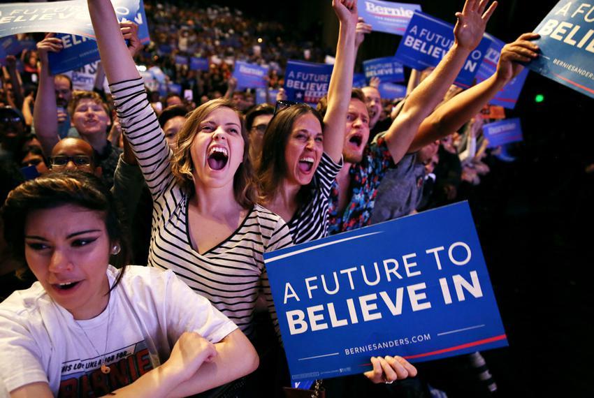Bernie Sanders supporters at Verizon Theatre in Dallas, Feb. 27, 2016.