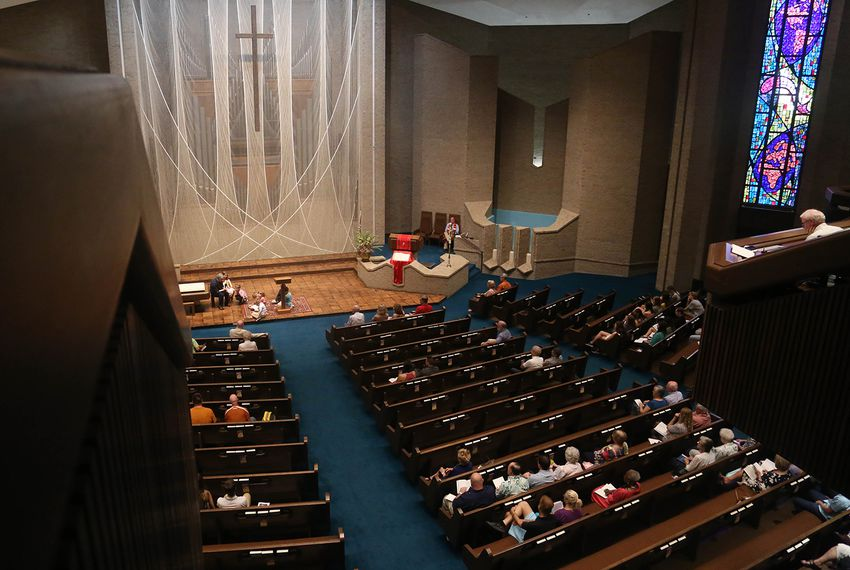 Sunday service at the The First Baptist Church of Austin on June 17, 2018.