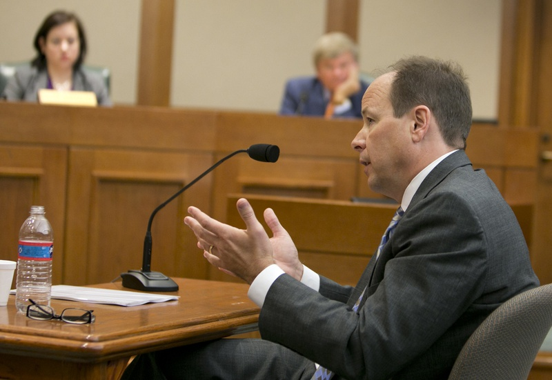 Former UT System General Counsel, Barry Burgdorf, gives testimony during a House Committee on Transparency in State Agency Operations October 23rd, 2013