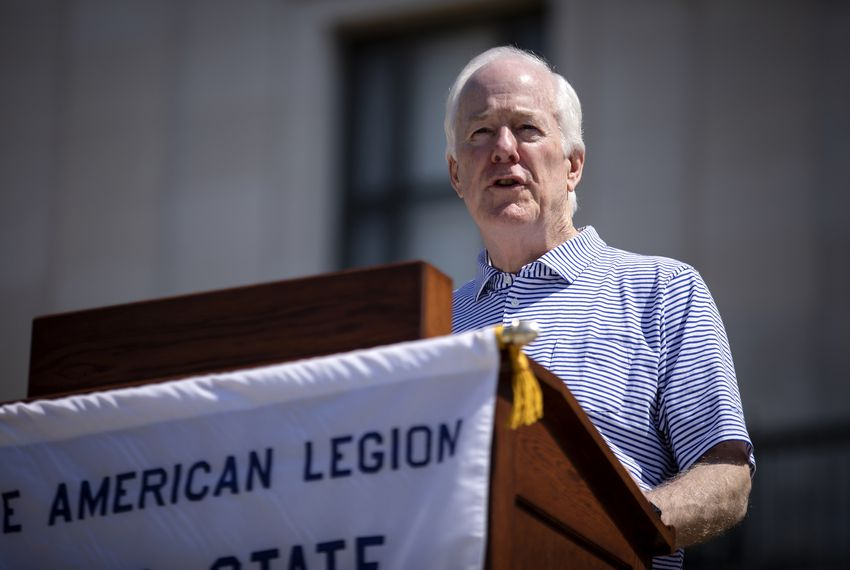 U.S. Sen. John Cornyn speaks at the American Legion Boys State ceremony on the south steps of the University of Texas at Austin tower on June 14, 2019.