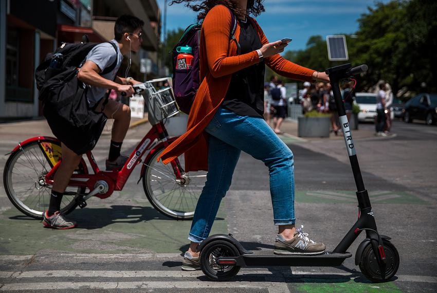 Motorized scooter on the UT-Austin campus on April 25, 2018.
