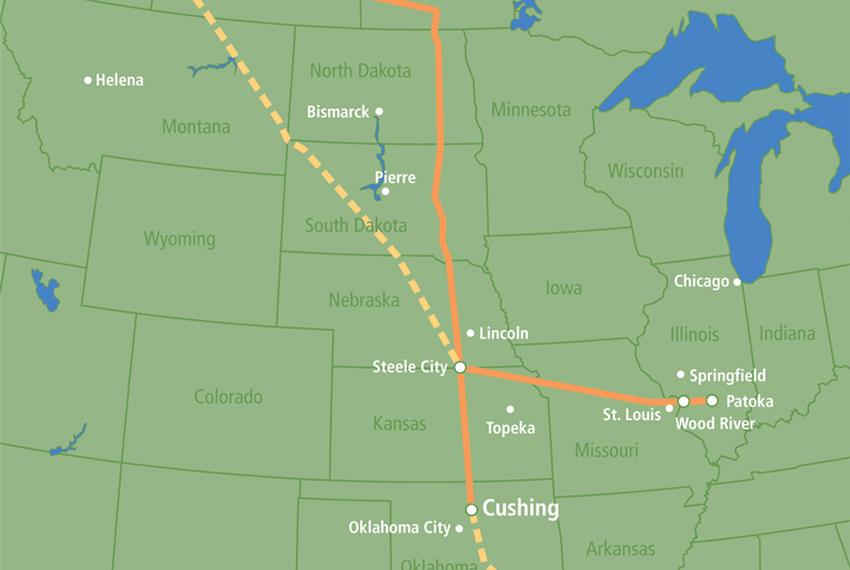 Map of TransCanada's Keystone and proposed Keystone XL oil pipeline.