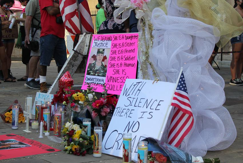More than 100 people gathered for a vigil in San Antonio to honor slain Army Specialist Vanessa Guillén.
