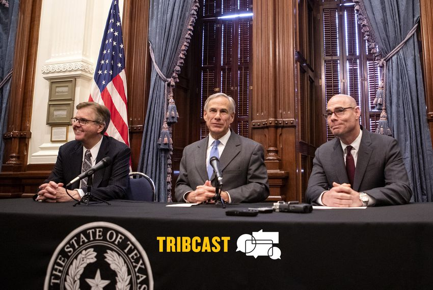 From left: Lt. Gov. Dan Patrick, Gov. Greg Abbott and House Speaker Greg Bonnen discuss property taxes at a press conference at the Capitol.