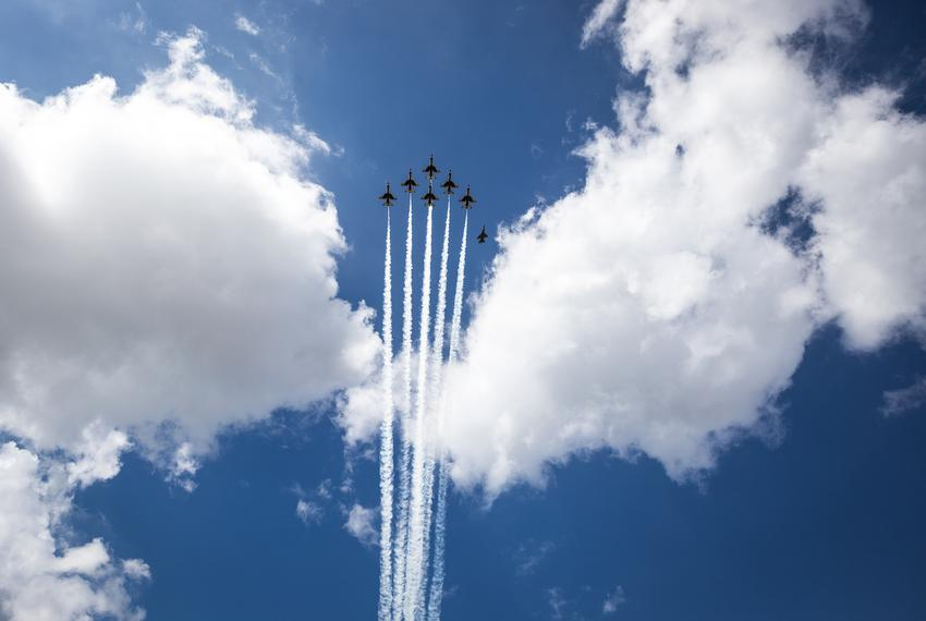 The Thunderbirds fly over Austin as part of the America Strong salute to essential workers in various cities across the co...