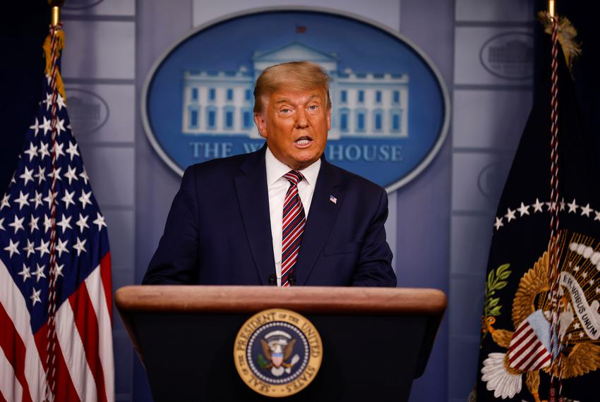 U.S. President Donald Trump speaks about the 2020 U.S. presidential election results in the Brady Press Briefing Room at the…