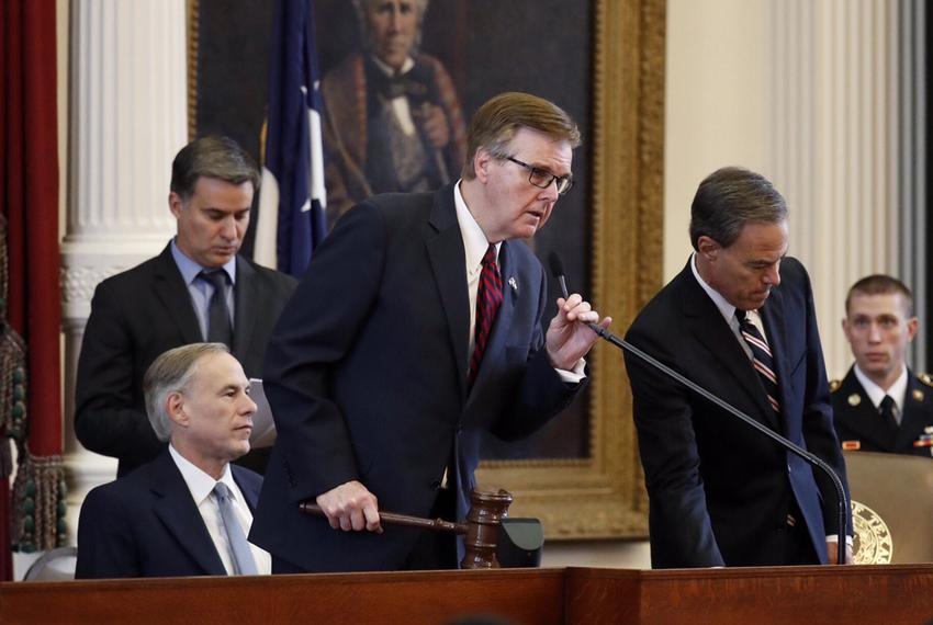 Gov. Greg Abbott, Lt. Gov. Dan Patrick and Speaker of the House Joe Straus on the dais in the House chamber for a joint se...