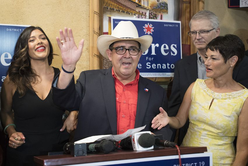 Peter Flores thanks his supporters after his victory over Pete Gallego in a special election to succeed former state Senator Carlos Uresti, on Sept. 18, 2018.