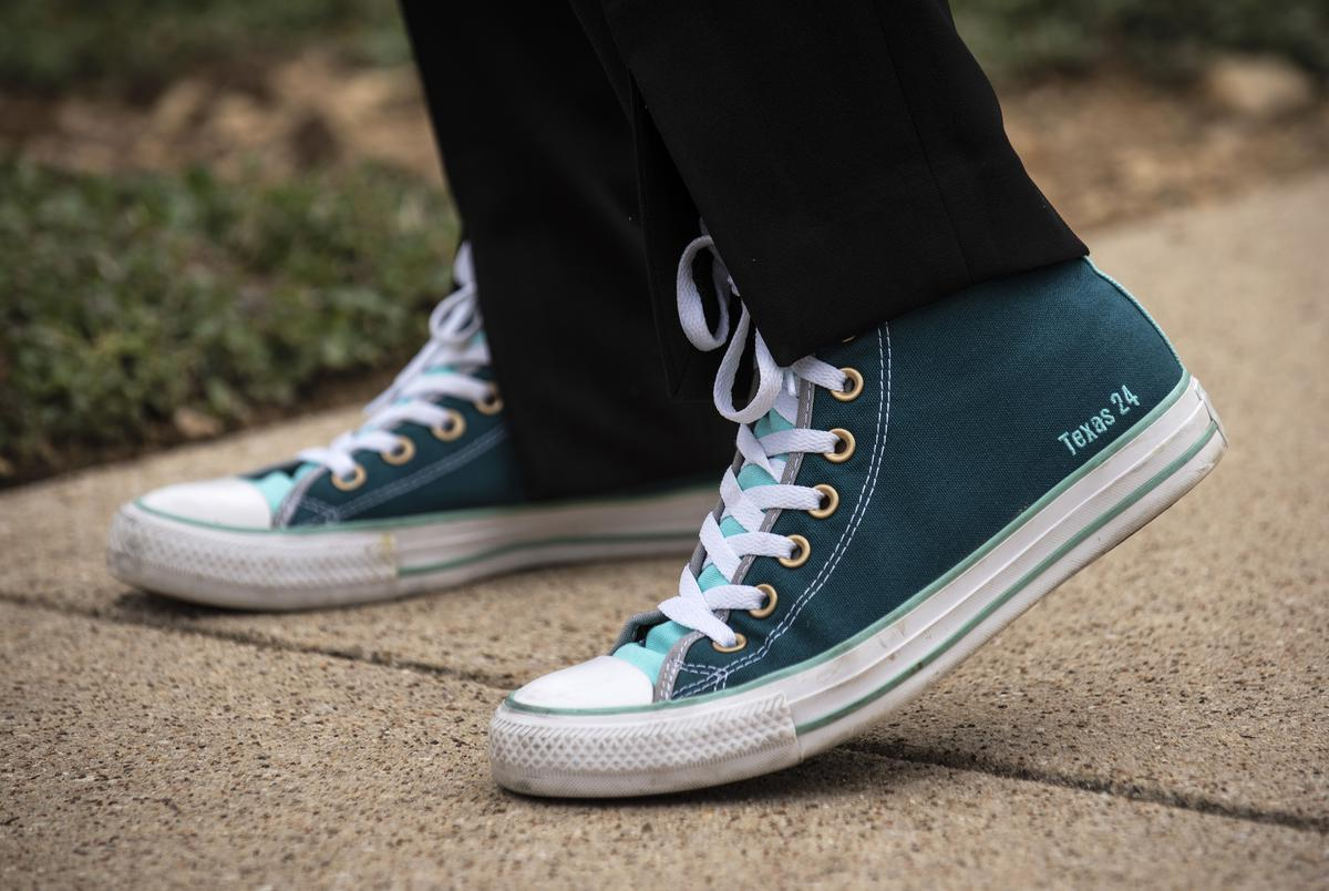 Candace Valenzuela, candidate for Texas' 24th Congressional District, sports her custom Converse shoes with