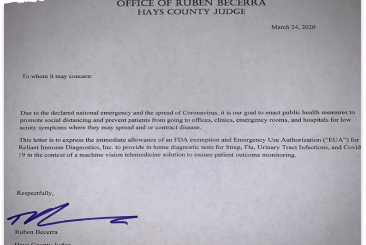 "Becerra appears to have issued an emergency use authorization for the antibody tests. The general counsel for Hays County said he has ""found no evidence in the law that says a county judge can issue an EUA."""