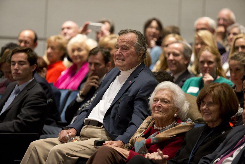 Former President George H.W. Bush and former First Lady Barbara Bush at Texas A&M University on Nov. 11.