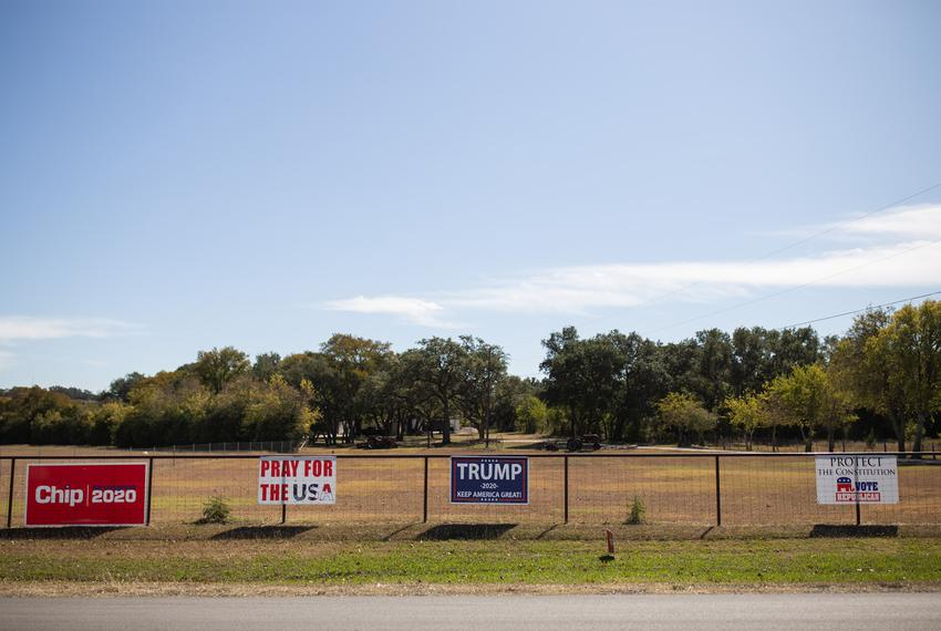 Republican signage outside the Blanco County Tax Assessor/Collector's Office polling location in Blanco on Election Day, Nov…