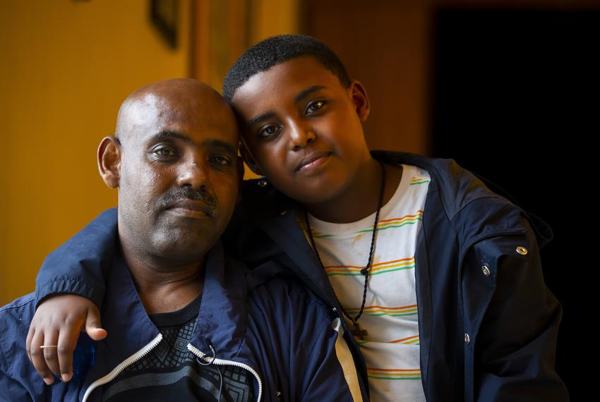 Shalemu Bekele and his son, Beimnet, photographed at their church, DSM Ethiopian Orthodox Tewahedo Church, in Houston, TX, o…