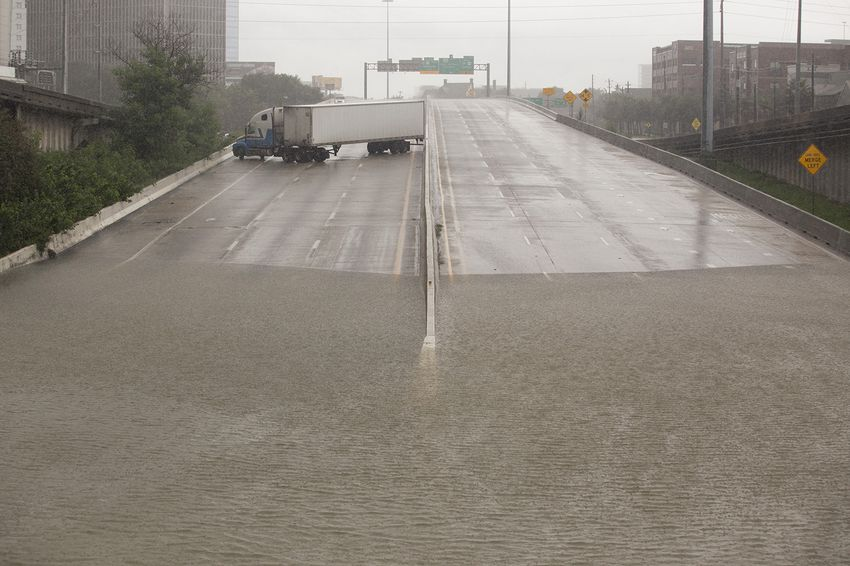Part ofInterstate 45 underwater in downtown Houston on Sunday afternoon, Aug. 27, 2017.