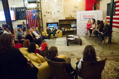 Panelists speak to attendees during a Trump Victory Leadership Initiative Training hosted by Women for Trump at Gulf Coast Distillers in Houston on Oct. 29, 2019.