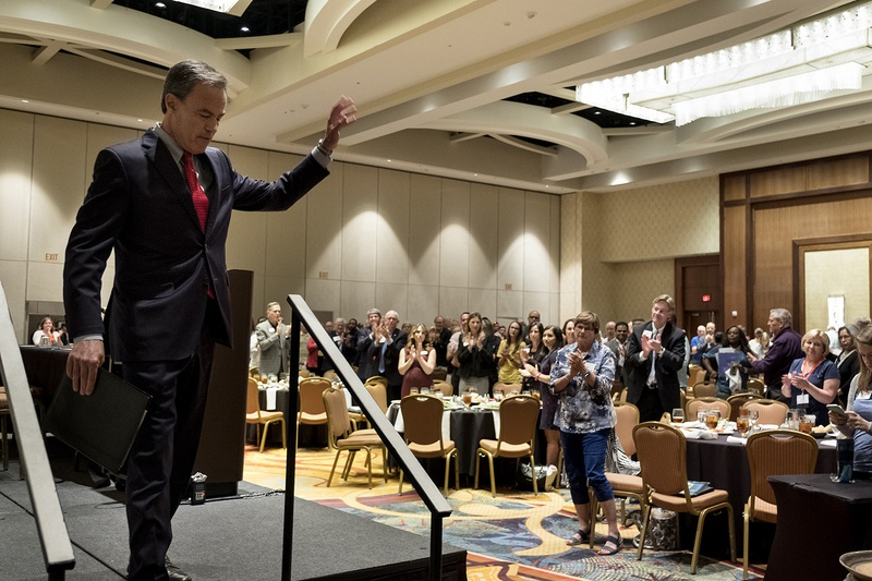 Texas House Speaker Joe Straus leaves the stage after speaking at the Texas Association of School Boards' annual summer leadership institute in San Antonio on June 14, 2017.