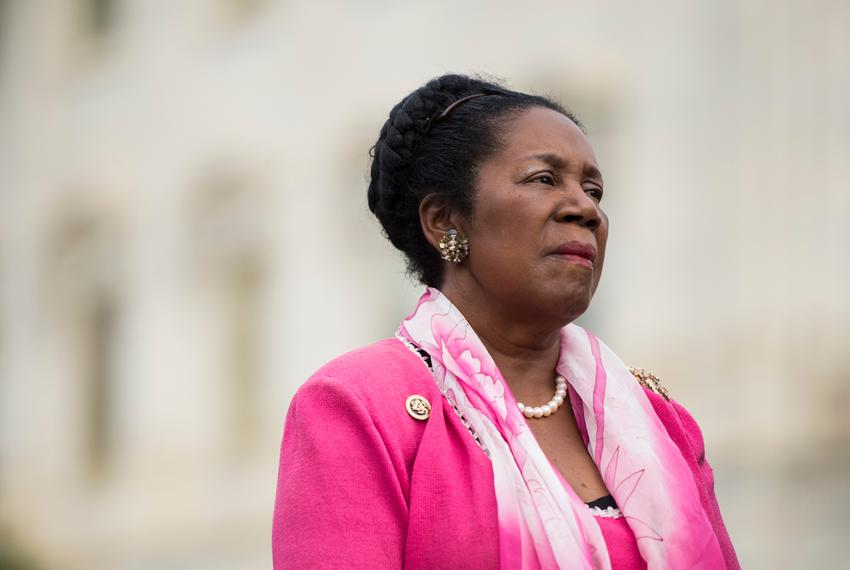 Rep. Sheila Jackson Lee, D-Texas, speaks during the news conference at the Capitol with other members of the Heroin Task For…