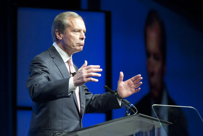 U.S. Senate candidate David Dewhurst gestures during a final day speech to delegates June 9, 2012 at the Republican Convention