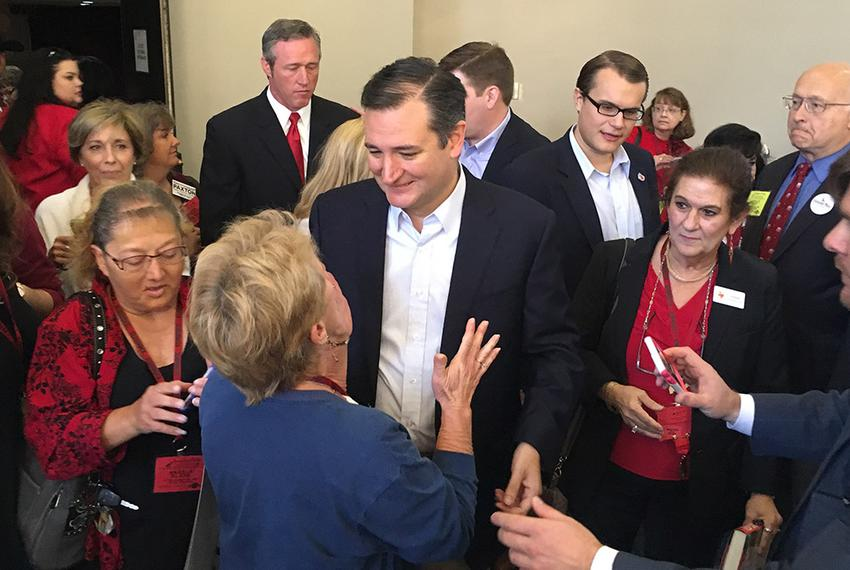 U.S. Sen. Ted Cruz, R-Texas, meets with members of the Texas Federation of Republican Women after addressing the group Satur…