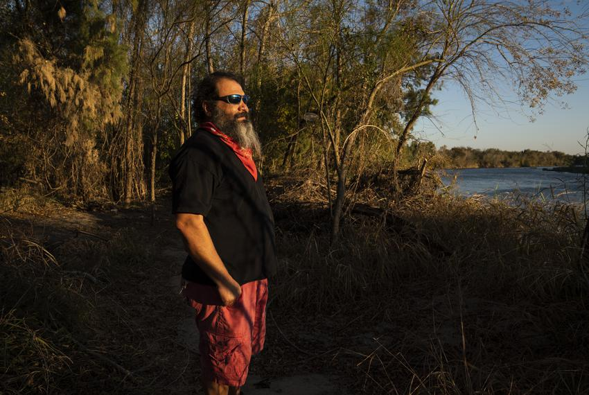 Daniel Villarreal on his property on the Rio Grande in Rio Grande City.. Villarreal says that he sold a portion of his land …