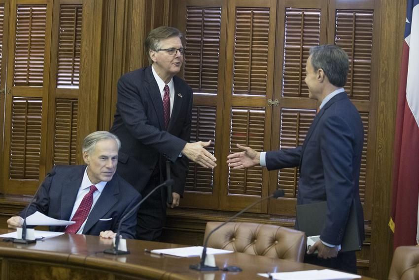 Gov. Greg Abbott, Lt. Gov. Dan Patrick and House Speaker Joe Straus meet at the short Cash Management Committee meeting on J…